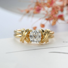 Anillos de doble feria para mujer estilo Vintage 4 garras de circón nudo torcido Color oro amarillo claro regalo de boda joyería de moda KBR013