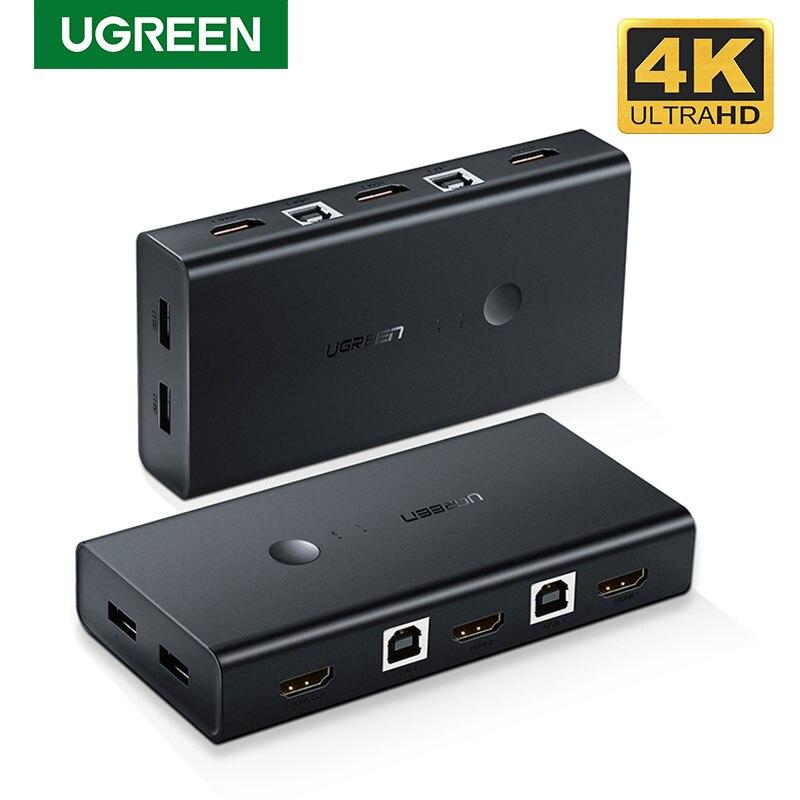 Переключатель Ugreen HDMI KVM, 2 порта, 4K, USB переключатель KVM, VGA, разветвитель, коробка для совместного использования, принтер, клавиатура, мышь, пер...