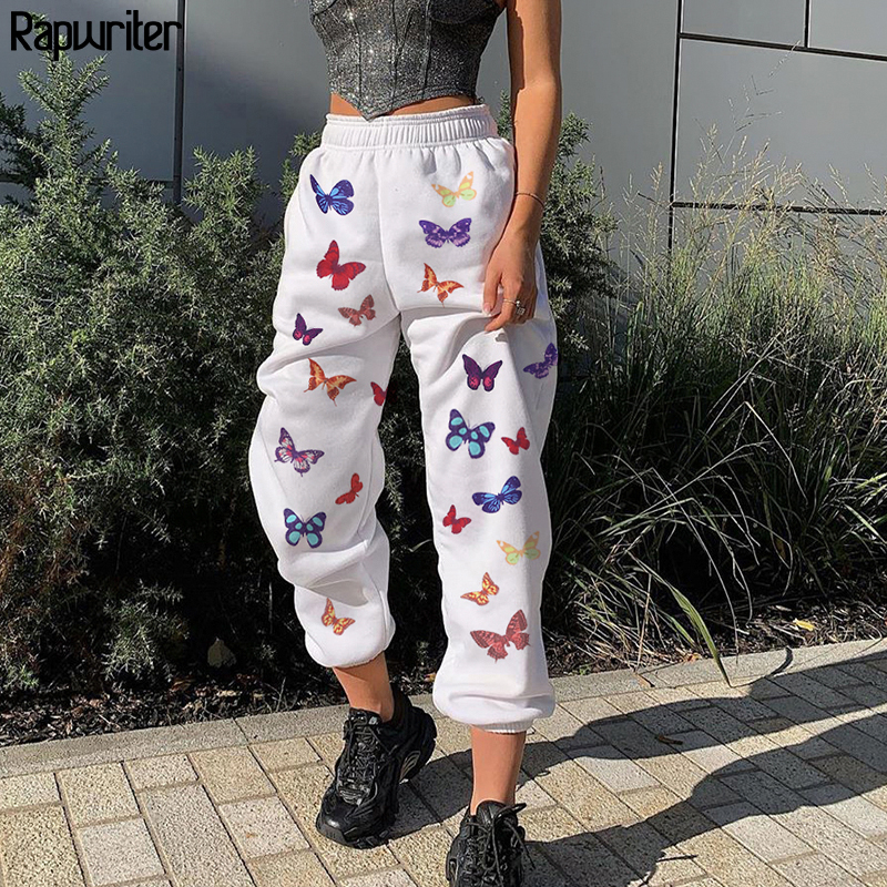 Rapwriter Fashion Butterfly Print Loose Pants Srping Women Summer 2020 Stretch High Waist Streetwear Jogger Pencil Pants Pocket