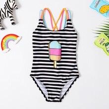 Новинка года; купальный костюм для маленьких девочек; слитный купальник в классическом стиле; купальный костюм в полоску для девочек; купальный костюм с рисунком мороженого