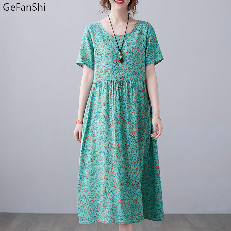 New Plus size Summer Dress Women Floral Fashion Dress Short Sleeve Cotton Linen Dresses Print Vintage Loose Casual Women's Dress