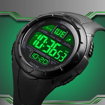 SKMEI Digital Mens Watches Led Light Countdown Wristwatch Luxury Military Waterproof Shockproof Clock Fashion Boy Bracelet Clock image