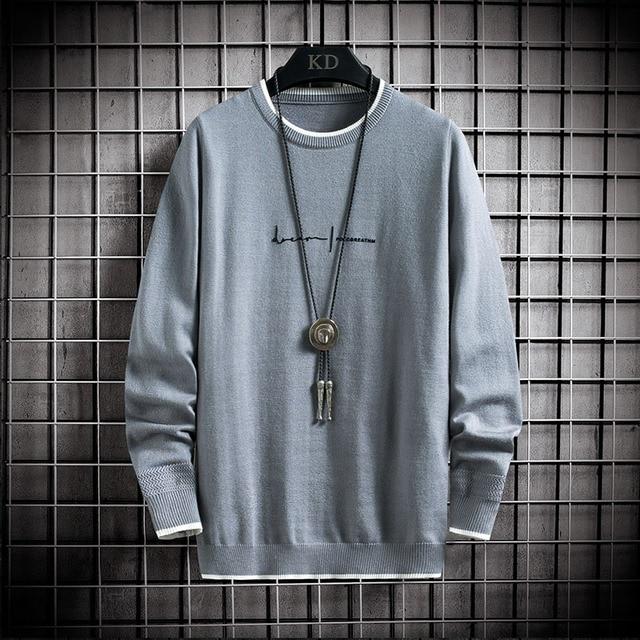 Jersey de manga larga para hombre, jersey de moda coreana, Jersey de punto de cuello redondo informal, ropa de talla asiática, 2020 2