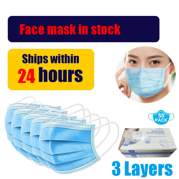 100PCS Medical Mask Three-Layer Non Woven Masks Dust Droplet pollution protection Free Shipping