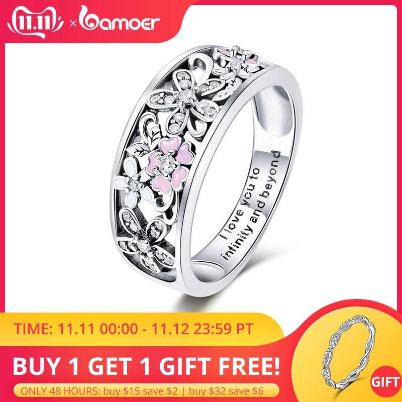Bamoer 925 en argent Sterling marguerite fleur et infini amour pavé bagues pour les femmes de mariage fiançailles bijoux SCR390