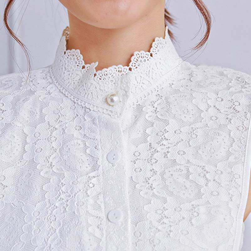 Hollow Lace Fake Collar New Wild Beautiful Decorative Pearl Buckle Fashion Fake Collar Double Fabric Women Clothing Accessories