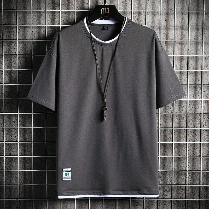 Футболка мужская повседневная с круглым вырезом, свободная Однотонная рубашка с коротким рукавом, уличная одежда, лето 2021