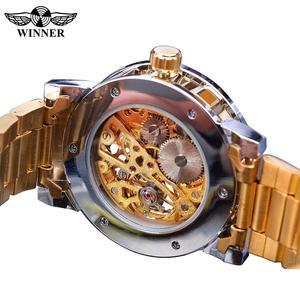 Image 4 - 受賞は、古典的なラインストーン時計ローマアナログ男性スケルトン時計機械式ステンレス鋼バンド夜光時計