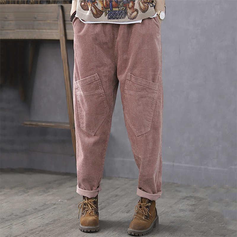 ZANZEA Women Corduroy Long Pants Casual Harem Pants Baggy Wide Legs Trousers US