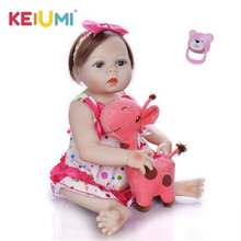 цены New Design 23 inch Silicone Reborn Baby Doll Full Vinyl Realistic Girl Princess Baby Dolls Kids Birthday Gift Fiber Hair