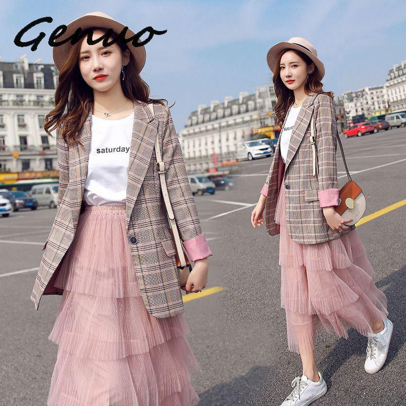 Vintage Single Button Plaid Women Blazer Spring Summer Pockets Jackets Female Retro Suits Coat Work Feminino Outerwear Blaser