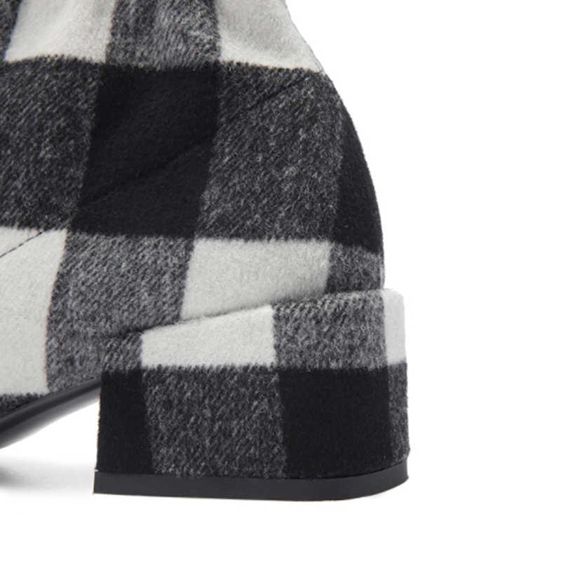 แบรนด์ใหม่ของแท้หนังข้อเท้ารองเท้าผู้หญิง 2019 Elegant Patchwork Booties สุภาพสตรี 5 ซม.Med ส้นรองเท้าผู้หญิง