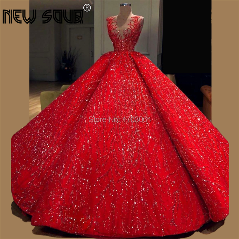 Newest Arabic Dubai Ball Gown Evening Dresses Red Beading Kaftans Gown 2020 Vestido De Festa Party Glitter Prom Dress Islamic