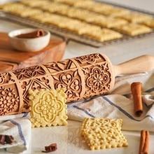 Weihnachten Rolling Pin Gravierte Holz Geschnitzt Geprägte Rolling Pin Küche Werkzeug Fondant Kuchen Gravierte Roller Blume Glyzinien