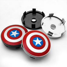 цена на 4PCS 60MM Captain America Shield Car Wheel Center Hub Caps Car Emblem Badge Wheel Center Cap for Car styling accessories