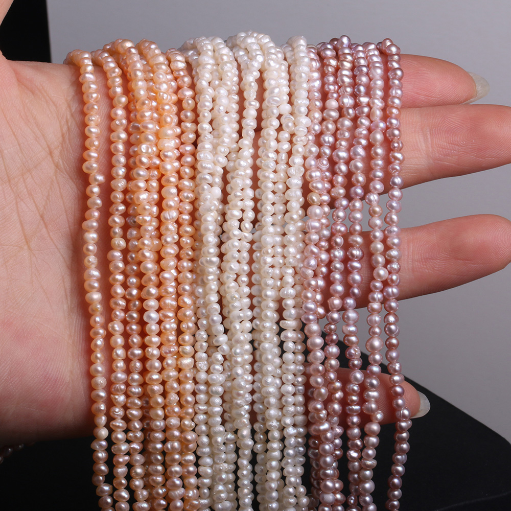 Fine 100% Natural Freshwater Pearl Beads Potato Shape Loose Beads For Jewelry Making DIY Bracelet Necklace 2-3mm Strand 14''