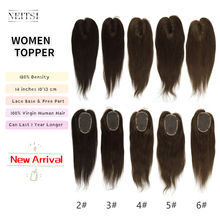 Topper Hair-System Lace-Base Remy-Hair Natural Women Toupee Neitsi 10x13cm 4-Clips 14-Inches