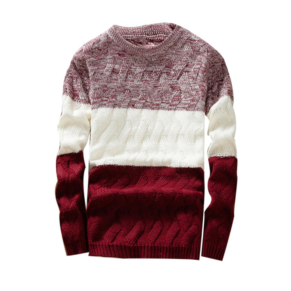 Mens Autumn Sweaters O Neck Long Sleeve Sweater Patchwork Sliming Fits Knitted Pullover Sweater Autumn Winter Pull Homme Erkek