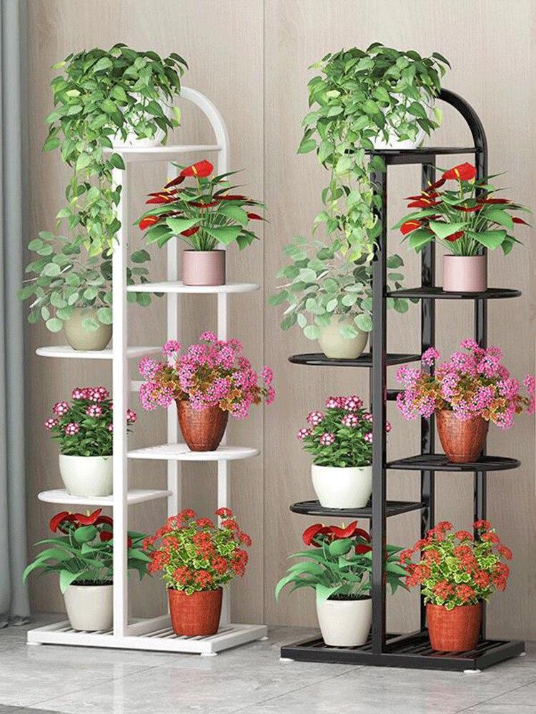 Ao ar livre multi camada flor planta titular casa indoor display rack quintal pátio varanda prateleiras de madeira metal planta estande preto
