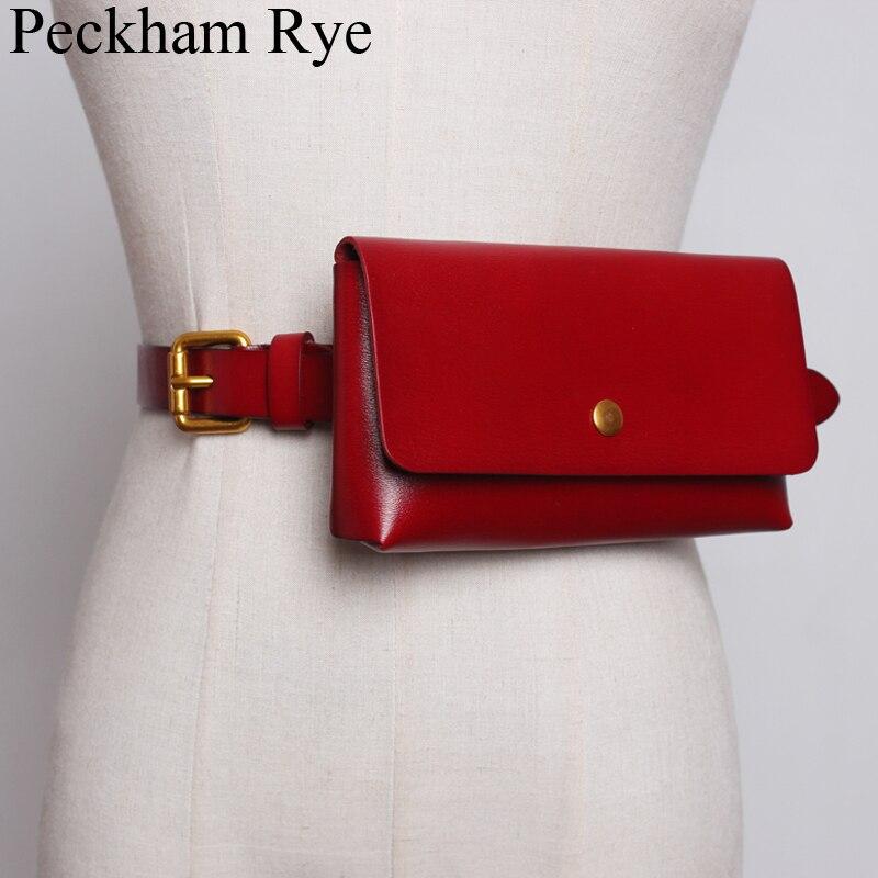 Genuine Leather Women's Waist Bag 2019 Vintage Fanny Packs For Women Fashionable Waist Belt Bag Mini Bags Money/Phone Pouch