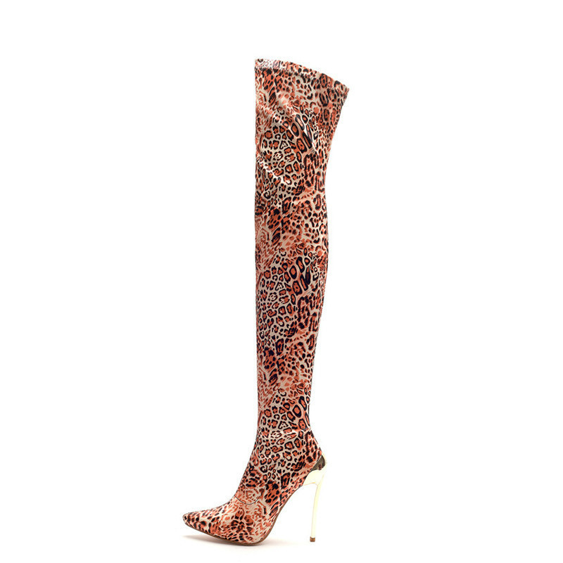 Big Size 34-43 Cool Knee High Boots Women High Heels Shoes Woman Party Footwear Ladies Lace Up Zipper Platform Boots