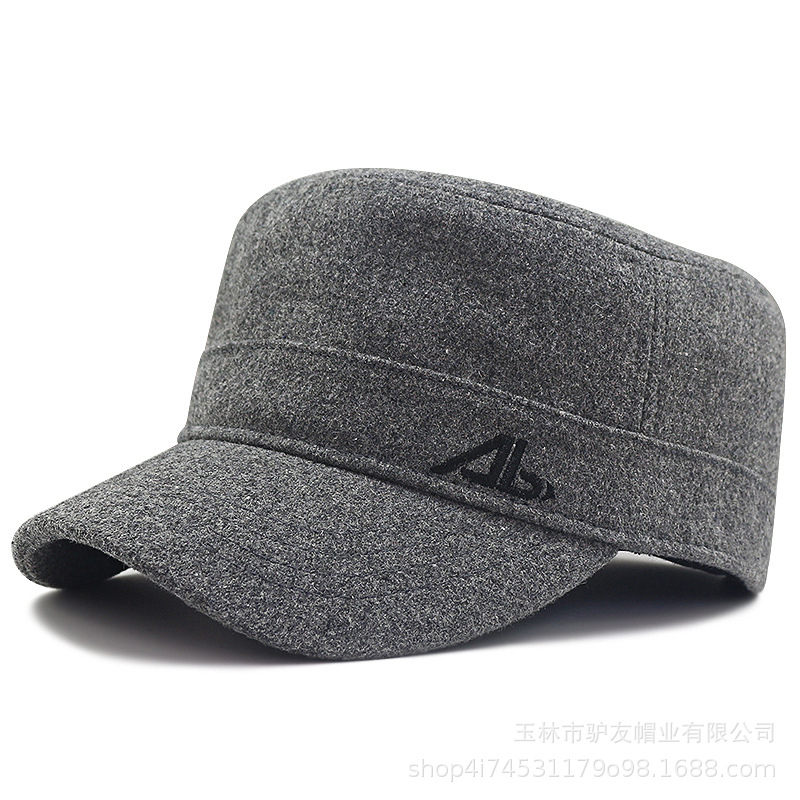 Male Winter Plus Size Felt Hat Dad Outdoors Casual Wool Military Hats Big Bone Men Large Size Flat Army Caps 56-62cm 62-68cm
