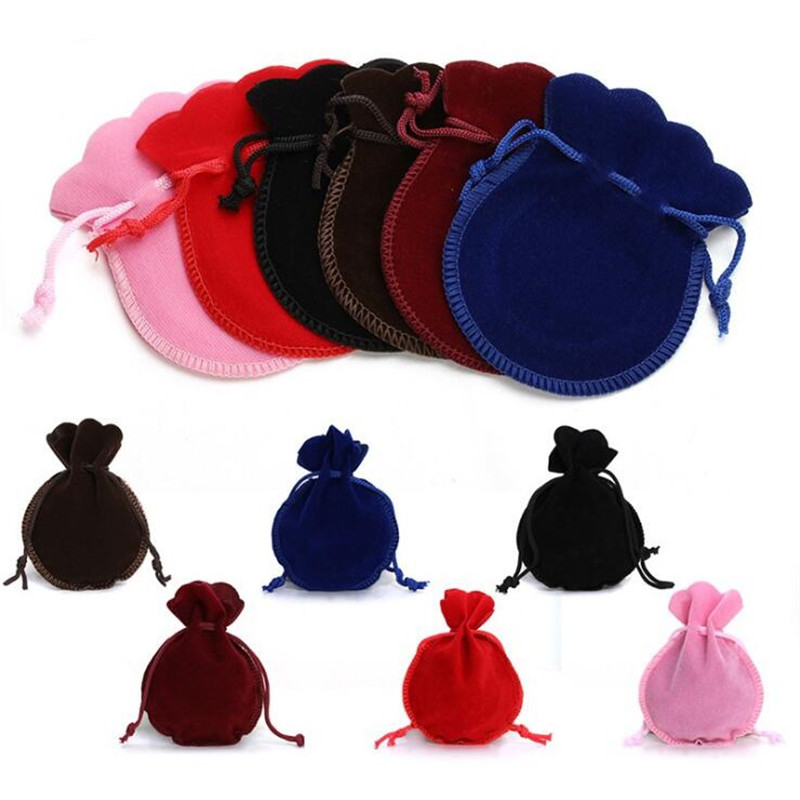 10pcs 5x7mm 7x9mm 9x12cm Velvet Bag Drawstring Pouch Black Red Pink Calabash Jewelry Packing Bags Wedding Christmas Gift Bag