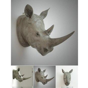 European-style Creative Simulation Animal Rhinoceros Head Wall Hangings Home Bar Living Room Winery Television Walls Decor M4204