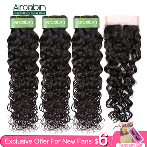 Aircabin Remy Deep Wave Double Weft Bundles With Closure Brazilian Human Hair Natural Color Bundles And 4x4 Swiss Lace Closure(China)