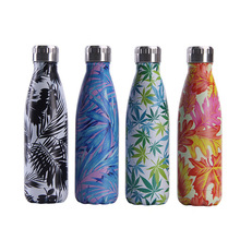 Leaf Water Bottle 500ml Insulated Cold Cup Stainless Steel Thermos Vacuum Flask Sport Drink For Bike Gym Shaker
