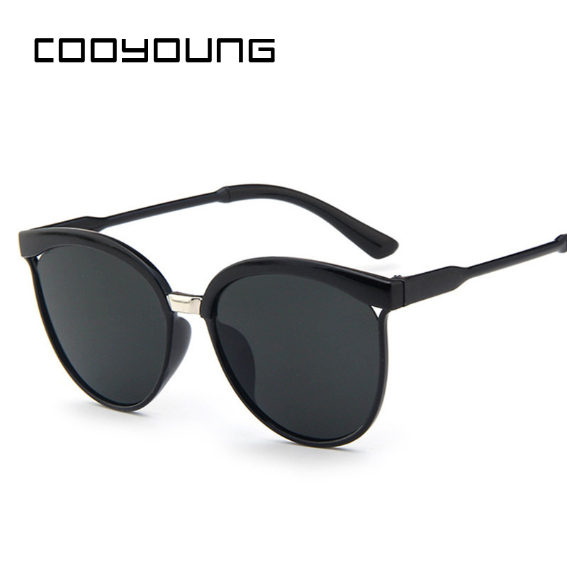 COOYOUNG Cat Eye Sunglasses Women Brand Designer Fashion Coating Mirror Sexy Cateye Sun Glasses UV400 Women's Glasses