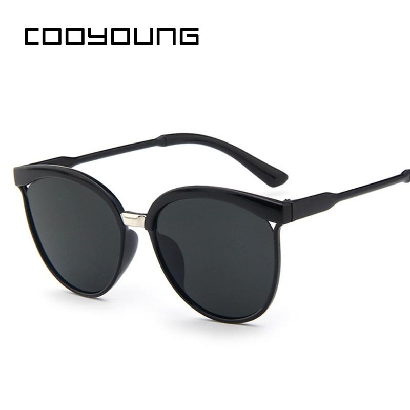 COOYOUNG Cat Eye Sunglasses Women Brand Designer Fashion Coating Mirror Sexy Cateye Sun Glasses UV400 Women's Glasses