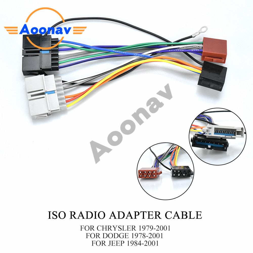 Aoonav 12 008 ISO Radio Adapter for Chrysler Dodge Jeep Radio Stereo Wire  Cable Wiring Harness Connector Lead Loom Plug Cables [ 1000 x 1000 Pixel ]