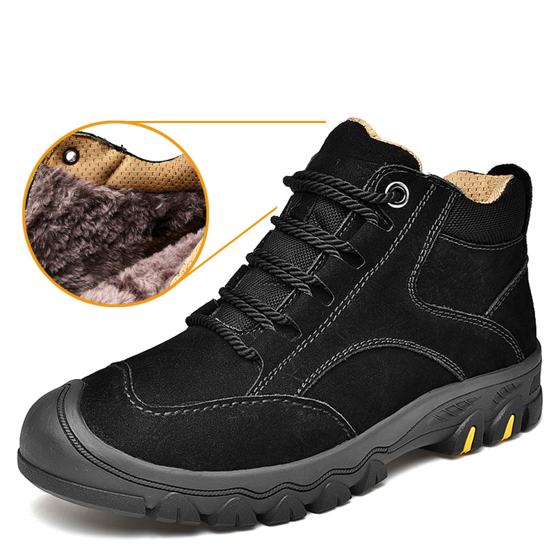 Men Cow Leather Shoes Genuine Leather Winter Plush Keep Warm In Snow Outdoor Walking Sneaker Anti-collision Tooling Casual Shoes