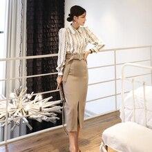 New two-piece 2019 Korean slim long sleeve striped print shirt  + fashion wrapped hip split skirt suits office 2 piece set women fashion beautiful slim wrapped skirt for women deep pink