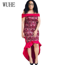 WUHE New Sequined Fringed Sexy Dress Word Collar Off Shoulder Fishtail Elegant Slim Women Clothing Summer Bling Party Wear