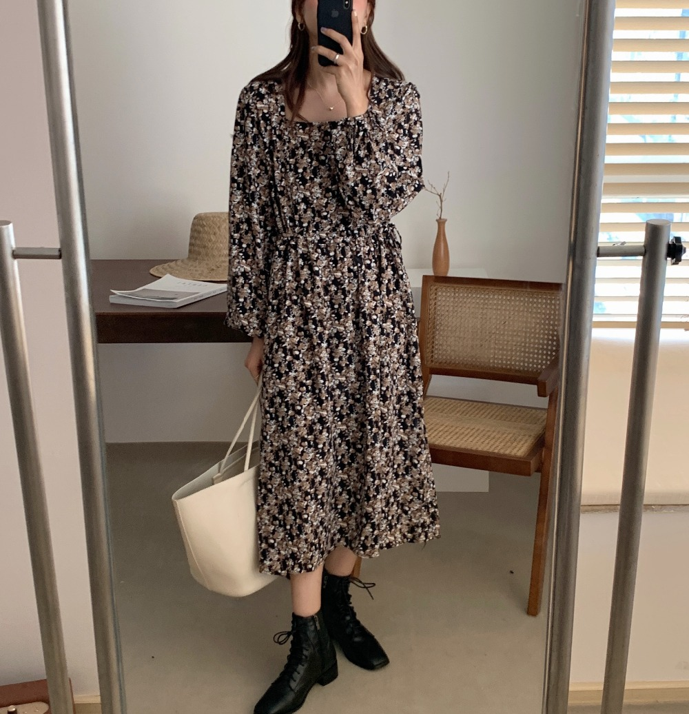 H91b2a9522104447cae76a2354deab0e04 - Autumn Square Collar Lantern Sleeves Floral Print Midi Dress