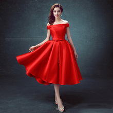 Classic Red Medium And Long Section 2019 New Evening Dress Multiple Colors Off The Shoulder Satin Lace Up Plus Size Party Dress