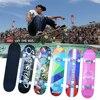 Maple Skateboard Adult Children Four-Wheel Aluminum Alloy Double Tilt Skateboard Sticker Pattern Long Board Teenager Gift 2021