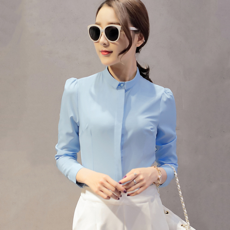 Slim Solid Shirt Women Long Sleeve Turn-down Collar Elegant Blouse Lady Red Pink Blue White Female Tops Temperament Work Clothes