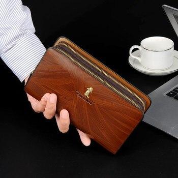 Cartera de cuero Vintage con doble cremallera para hombre, billetera de PU,...
