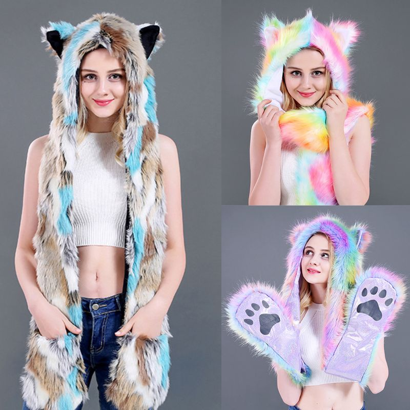 3 In 1 Unisex Rainbow Fluffy Plush Wolf Hat Hoodie Animal Ears Paws Scarf Gloves