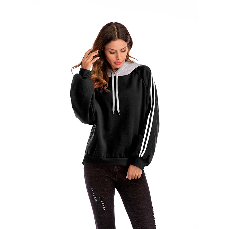 2019 Autumn And Glay Winter Women's Sweater Colorblock Hooded Loose Long-sleeved Shirt