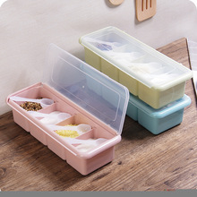 Four-Square Seasoning Box Plastic Cans Set Kitchenware Spice Containers EnvironmentalProtection