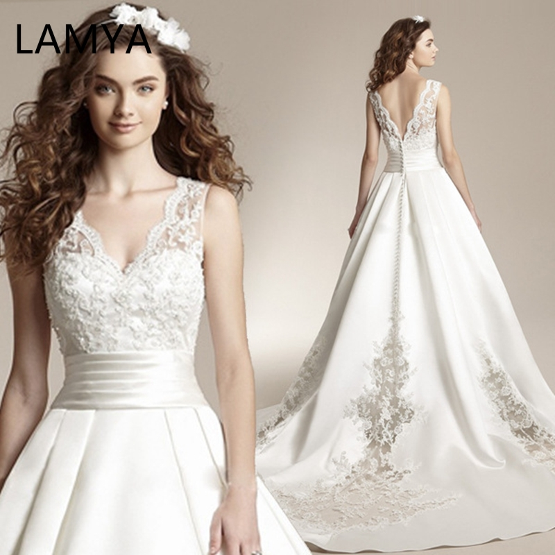 LAMYA Wedding Dress Dream Princess Bride Big Tail Dress Vestidos Lovely Bow Deep V-neck Court Train Thick Satin Lace up Luxury