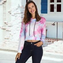 цена 2019 Autumn Women Cute print Short hooded long sleeve pullover long-sleeved Casual Style female Pullover онлайн в 2017 году