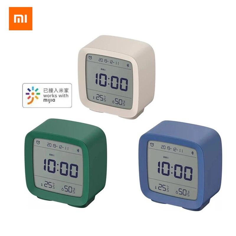 Xiaomi reloj despertador con Bluetooth, pantalla LCD de humedad y temperatura, luz nocturna ajustable con aplicación Mijia Smart Home Relojes despertadores  - AliExpress
