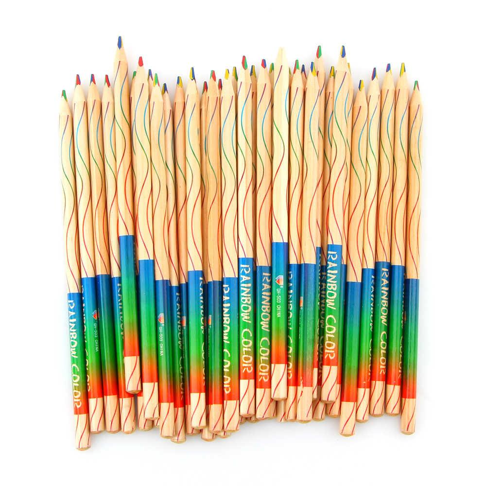 10 Pcs/lot DIY Cute Kawaii Kayu Pensil Kayu Pelangi Pensil Warna untuk Anak Sekolah Graffiti Menggambar Lukisan
