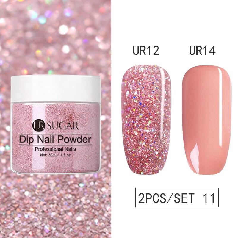 Conjunto de pó de unhas ur sugar, kits de pó de glitter seco natural para decoração artística de unhas pigmento acrílico
