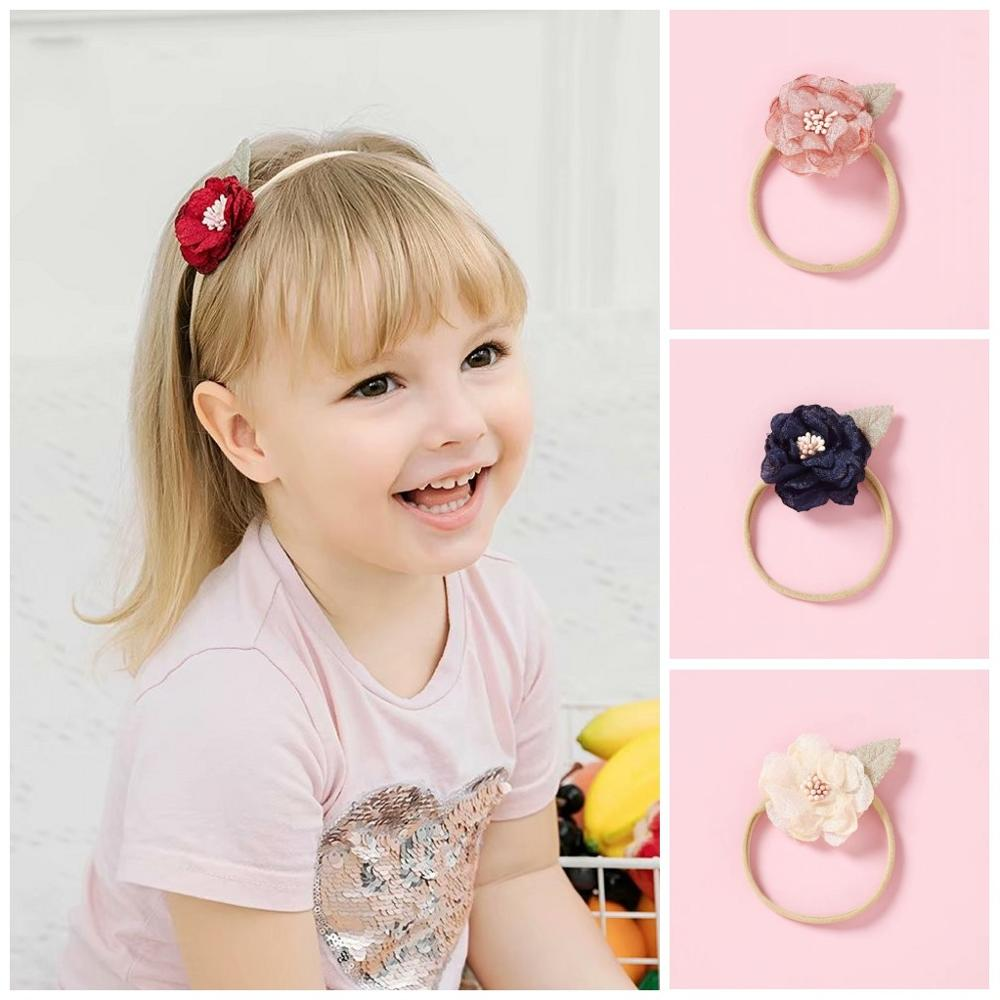 100pcs Kids Baby Girl Stretch Elastic Lace Heabands Hairband accesories DIY